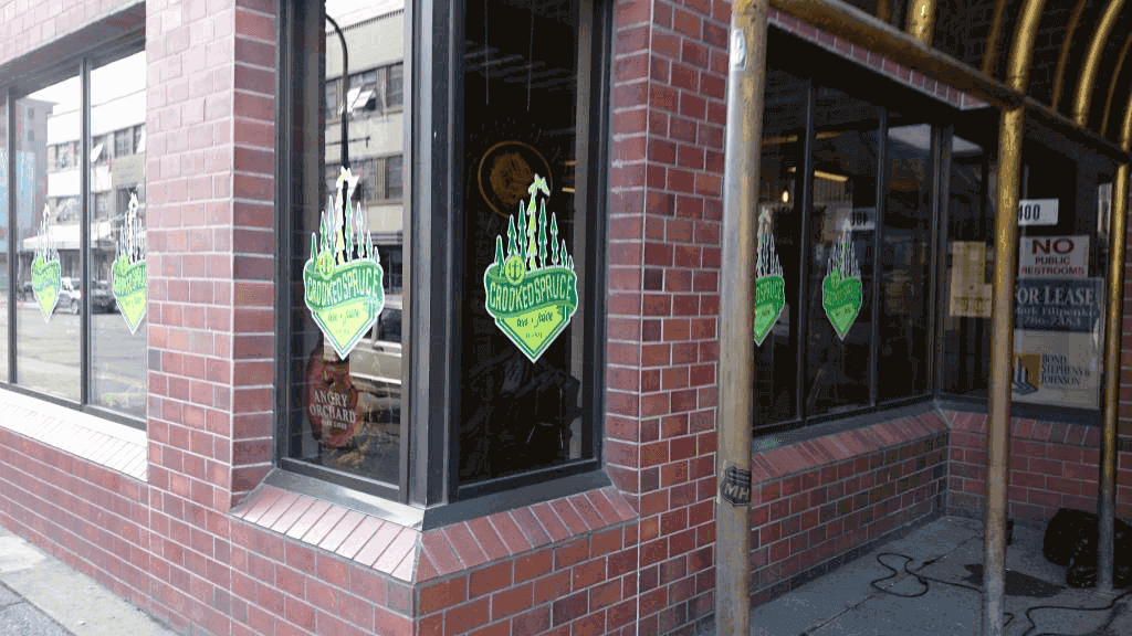 Crooked Spruce Window Signage